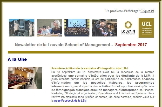 Newsletter de la Louvain School of Management -  Septembre 2017